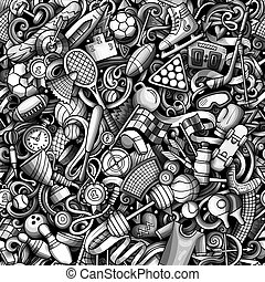 Sports hand drawn doodles seamless pattern.