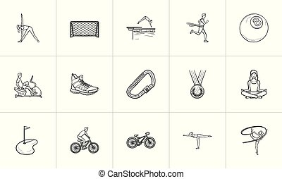 Sports hand drawn outline doodle icon set.