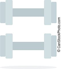 Sports hand dumbbells flat isolated