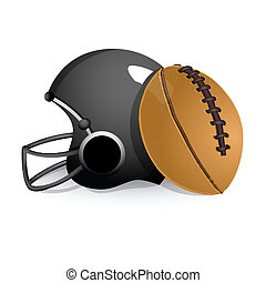 sports helmet with rugby ball