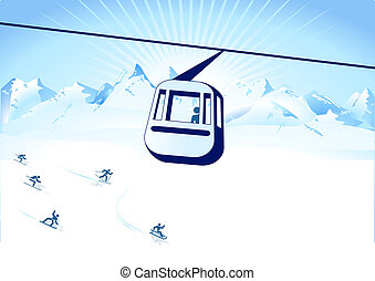sports, hiver, cable-way