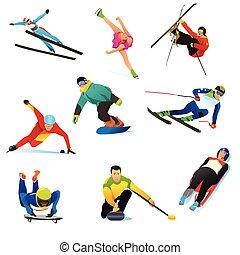sports hiver, cliparts, icônes
