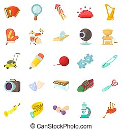 Sports hobby icons set, cartoon style