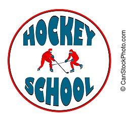 sports., hockey., 상징, illustration., 학교, 얼음