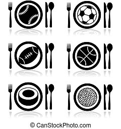 Sports hunger - Icon set showing a plate with cutlery and...
