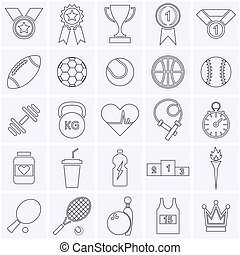 sports, icône, collection.