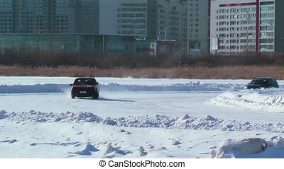 Sports ice competitions on cars - Tyumen, Russia - February...