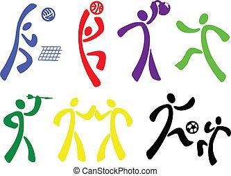 Sports icon set, different sport disciplines