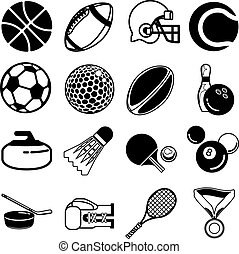series of icons or design elements relating to sports