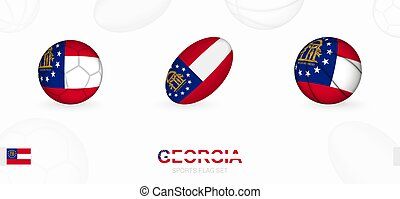 Sports icons for football, rugby and basketball with the flag of Georgia.