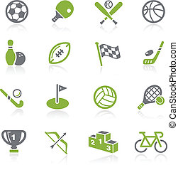 Sports Icons -- Natura Series - Green vector icon set for...