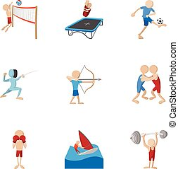 Sports icons set, cartoon style