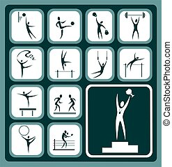 sports icons set - Stylized sports icons set isolated on a...