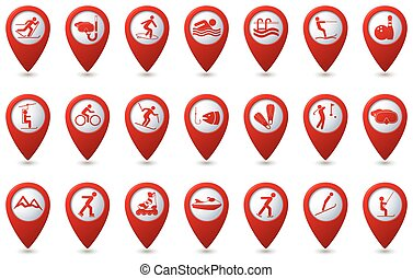 Sports icons set on map pointers