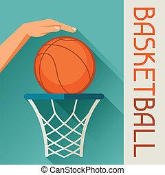 Sports illustration hand shot basketball ball through hoop.