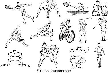 sports, individu, -, icônes