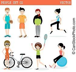 sports., jogo, tocando, pessoas