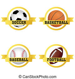 sports labels - abstract sports balls labels on white...