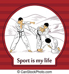 Sports life card. Karate fighters.