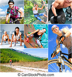 Sports  lifestyle concept. Active happy people outdoor