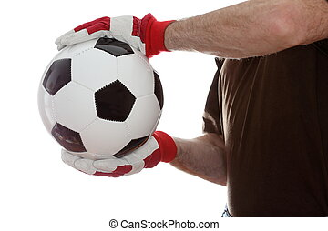 sports man is taking a soccer ball