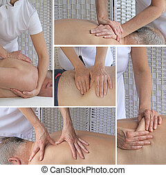 Sports Massage Therapy Collage - Five different views of a...