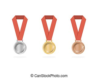 Sports medals with shade on white background