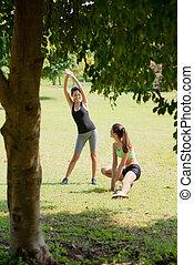 sports, nätt, kvinnlig, vänner, avkopplande, efter, joggning