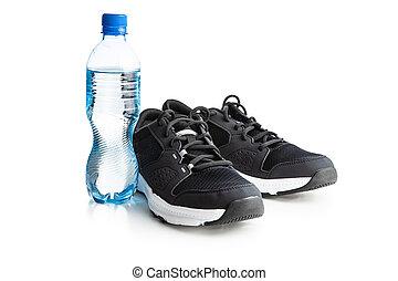sports nautiques, bouteille, chaussures, noir