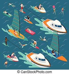 sports nautiques, coloré, composition, gens