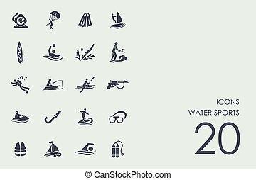 sports nautiques, ensemble, icônes