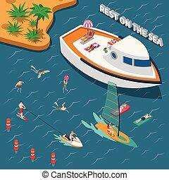 sports nautiques, isométrique, concept, gens
