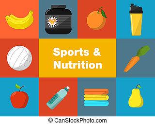 sports, nutrition, ensemble, icônes