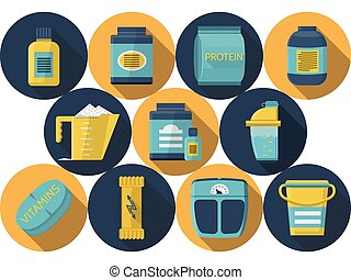 Sports nutrition flat icons vector collection - Set of round...