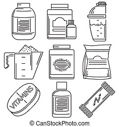 Sports nutrition flat line icons vector collection