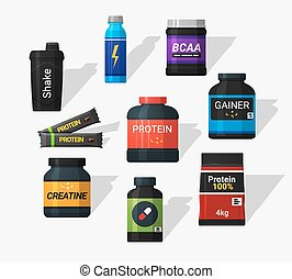 Sports nutrition icons in flat style and long shadow....