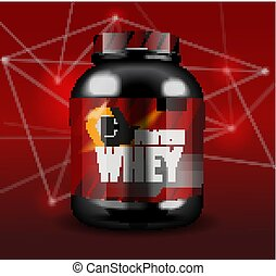 Sports nutrition - protein whey. Abstract model of a can of...