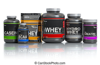 Sports nutrition (supplements) for bodybuilding. Whey...