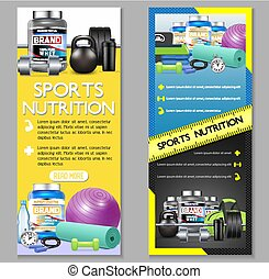 Sports nutrition vector vertical banner set