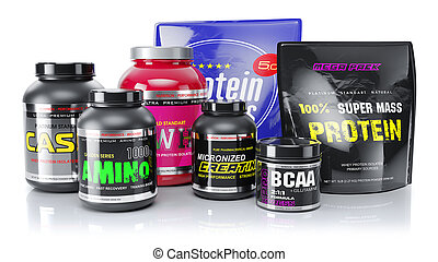 Sports nutrition. Whey, BCAA, protein, amino. 3d render -...