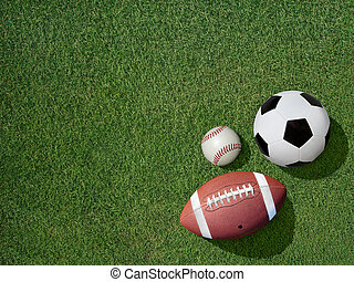 Sports on Green Grass Sports Turf - View of sports equipment...