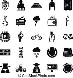 Sports on the beach icons set, simple style