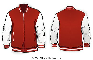 Sports or varsity jacket template. Vector.