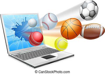 sports, ordinateur portable, app, concept
