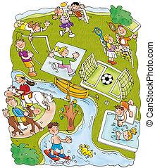 sports park, horseback riding, skiing volleyball, ice...
