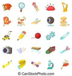 sports, passe-temps, style, dessin animé, ensemble, icônes