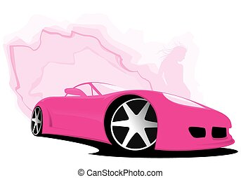 Sports pink car