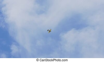 Sports plane in the sky. - Sports plane makes aerobatics in...