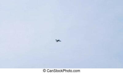 Sports plane in the sky. - Sports plane makes aerobatics in...