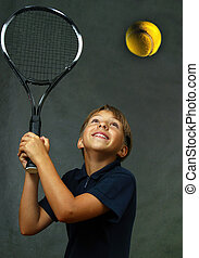 The girl with tennis attributes